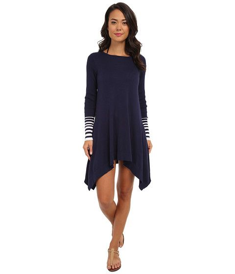 Tommy Bahama Beach Sweater Crew Neck High-Low Cover-Up Mare/Navy - 6pm.com