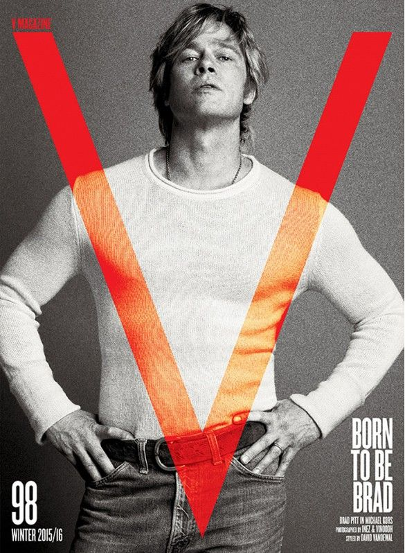 Brad Pitt wears a knit shirt and jeans on the cover of V magazine.