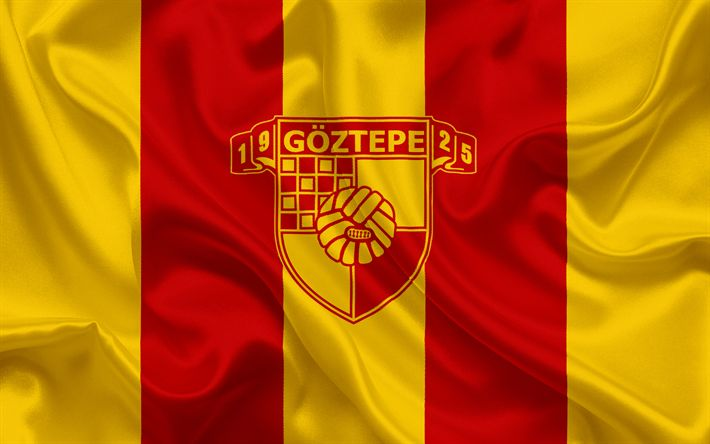 Descargar fondos de pantalla Göztepe SK, turco, club de fútbol, emblema, logotipo, rojo amarillo bandera de seda, Izmir, Turquía, turco Campeonato de Fútbol