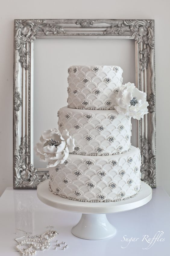 Sugar Ruffles, Elegant Wedding Cakes. Barrow in Furness and the Lake District, Cumbria: Silver Scalloped Wedding Cake