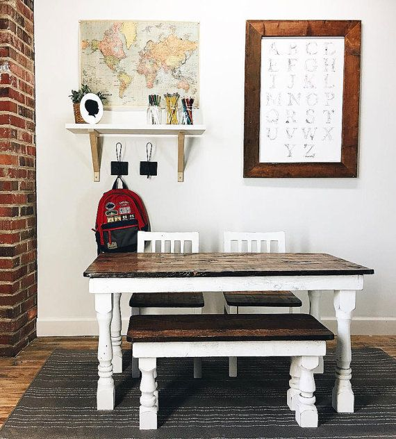 Enjoy beauty and practicality with this Kids Farmhouse Table Set! Moms, you no longer have to worry about kids scratching or denting this table!