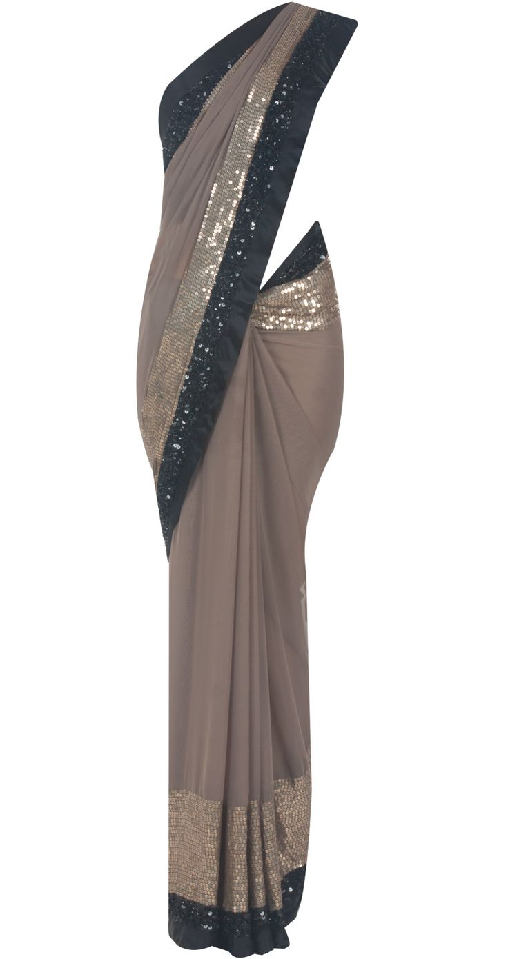 Dark grey sari with gold sequinned and black satin border by ATSU. Shop at http://www.perniaspopupshop.com/designers-1/atsu/atsu-7343
