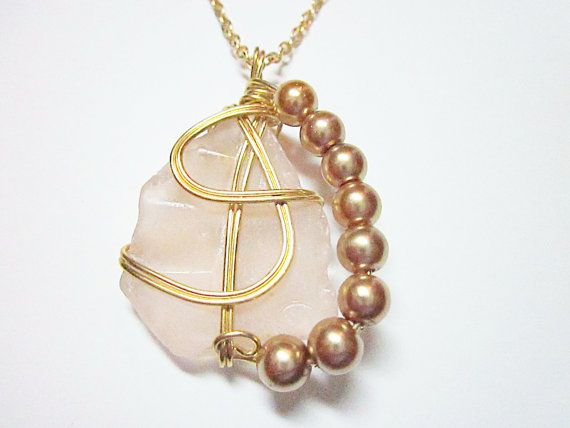 Pink Sea Glass Pendant Gold Wire Wrapped Necklace Pink Pearls SEA GLASS PENDANTS     ~~*Pink Jewel**~~  Fascinating Triangular Shaped Sea Glass  Pale Pink, Opaque Sea Glass... #seaglass #nautical #seaglaspendant #nauticalnecklce #gift #giftidea #giftforher #fashion #jewelry