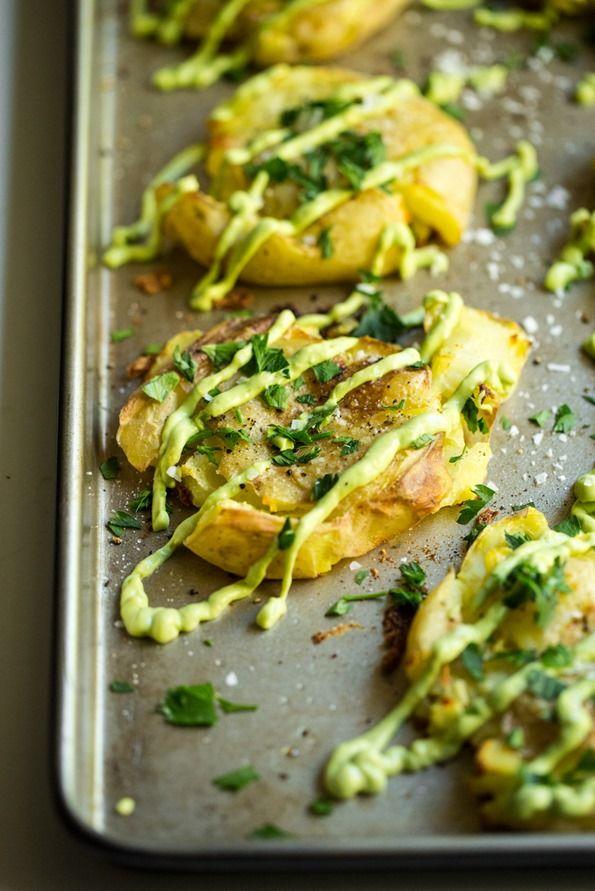 Party Appetizer Ideas | Crispy Smashed Potatoes with Avocado Garlic Aioli Recipe