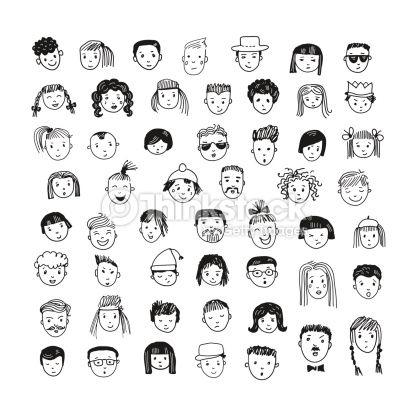 Vektorgrafik : Cartoon Vektor-set. 53 Verschiedene lustige Gesichter.