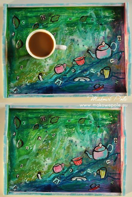 Makowe Pole  coffee, tea, tray, painted