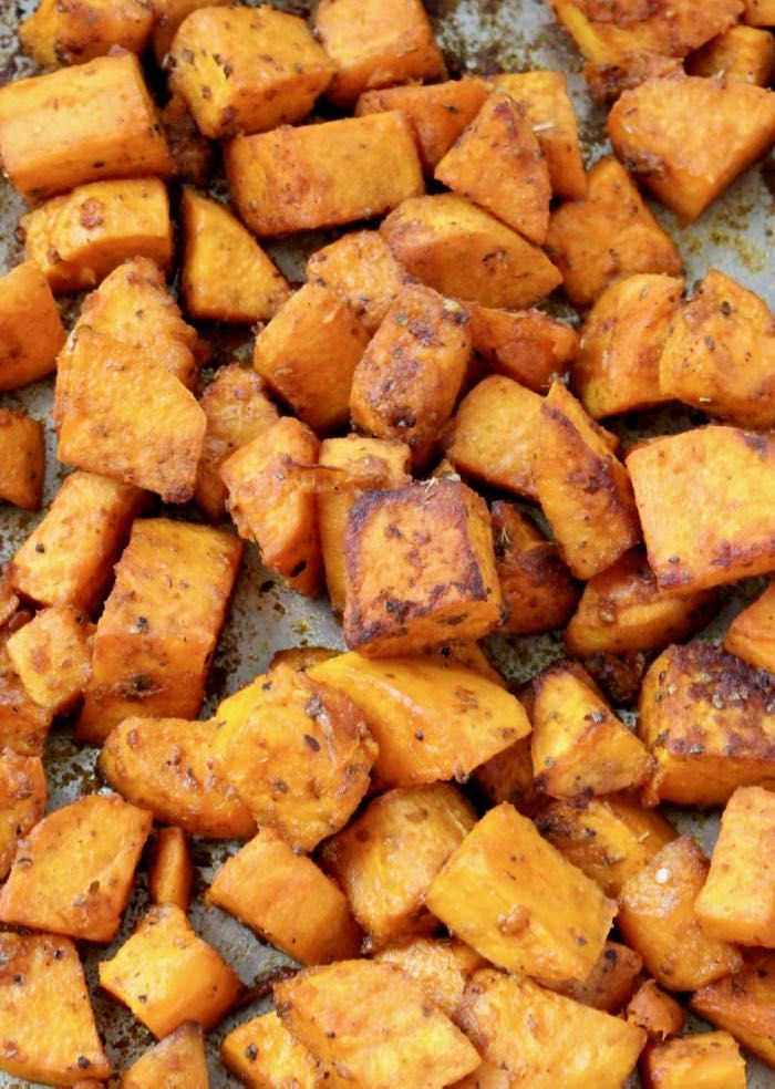 Vegan Oven Roasted Sweet Potatoes Recipe, the Perfect Side Dish: Savory, Crispy, Healthy and Easy to Make ( cubes, rounds or slices ).