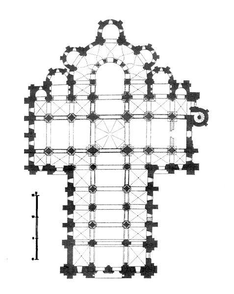 Plan de l'église abbatiale Sainte-Foy de Conques (Aveyron), début du XIIe siècle