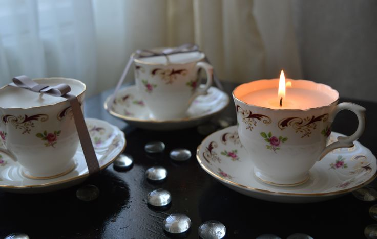 Vanilla scented teacup candles. Lovely gift for any occasion.
