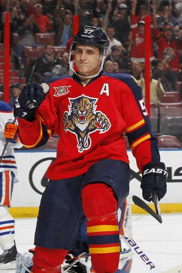 SUNRISE, FL - NOVEMBER 5: Marcel Goc #57 of the Florida Panthers celebrates his first period goal against the Edmonton Oilers at the BB&T Center on November 5, 2013 in Sunrise, Florida. (Photo by Joel Auerbach/Getty Images)
