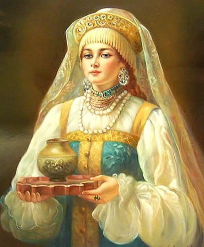 "Fedoskino Russian Lacquer Box ~ ""Girl with a Tray"" Artist Dubavina"