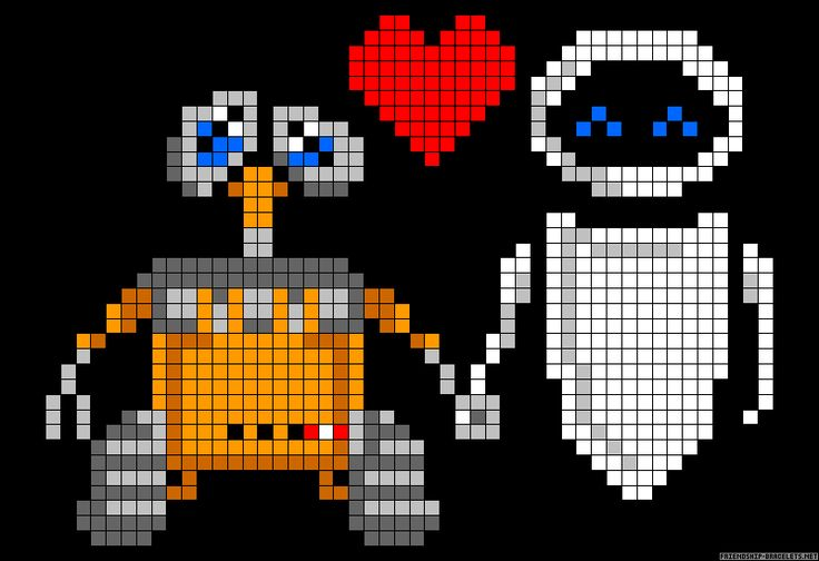 Wall-E and Eve perler bead pattern