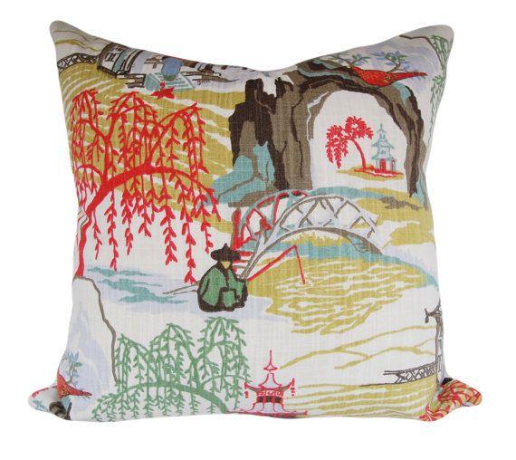 Asian Neo Toile Decorative Pillow Cover Robert Allen
