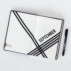 Minimalistische monatliche Bullet-Journal-Seite, die sich im September verbreitete. @pacificnotation