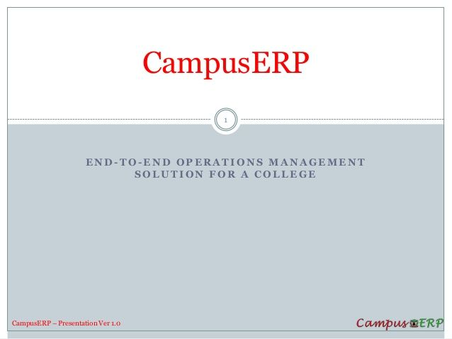 ›CampusERP is a web-based hosted enterprise solution (ERP) for colleges.