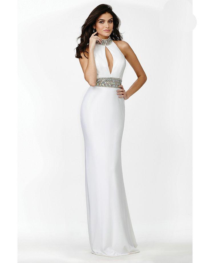 Elegant High Neck White Prom Dresses Beaded Front Open Sexy Long Prom Party Dress 2016 Vestidos De Fiesta