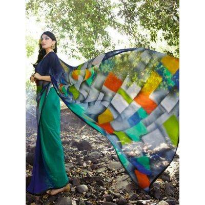 Elegantstar Multi Color Georgette saree with Matching Color Blouse.It contained the work of Printed.The Blouse which can be customized up to bust size 44