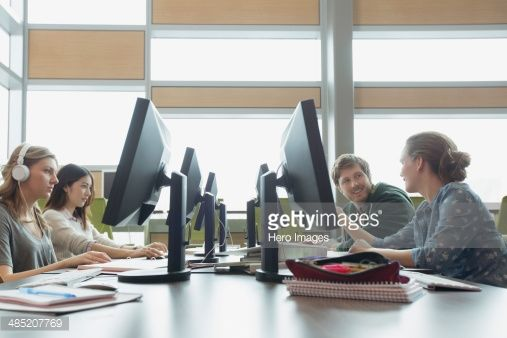 Stock Photo : College students working in computer lab