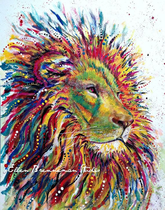 Lion Spirit Power Animal original painting by Ellen Brenneman