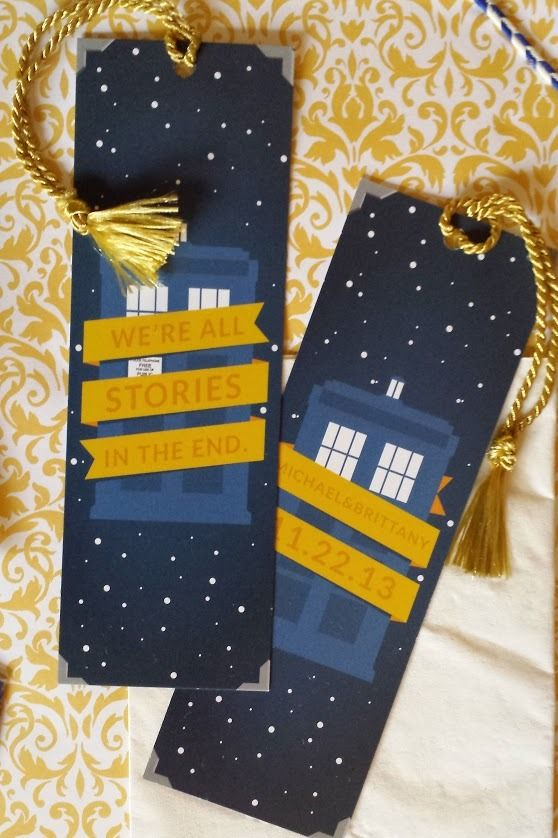Doctor Who wedding favors.  Personalized Doctor who bookmarks. Designed by my husband. Available for commissions.