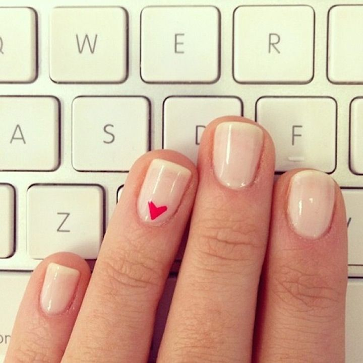 love this subtle heart nail design on ivory nails...would be perfect for the wedding!! ~  we ❤ this! moncheribridals.com
