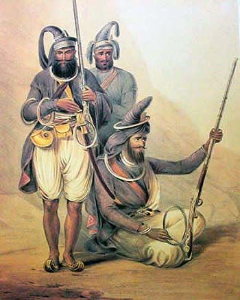 Battle of Ferozeshah 1841( TheAnglo- Sikh Wars) Sikh Akalis religious warriors, were particularly formidable opponent of the British in the Battle of Ferozeshah in Punjab.