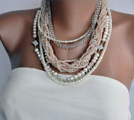 NEW Collection  Chunky  Trend Layered Freshwater Pearl   , Crystal, Peach Puff Necklace