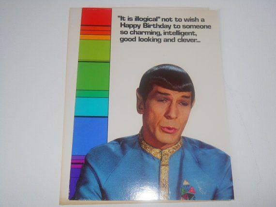 Carte de vœux 1976 Star Trek d'anniversaire Spock anniversaire logique