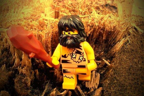 lego caveman forging for Paleo food