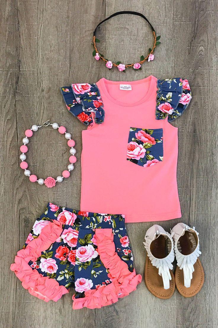 The Harper Floral Short Set - Sparkle in Pink