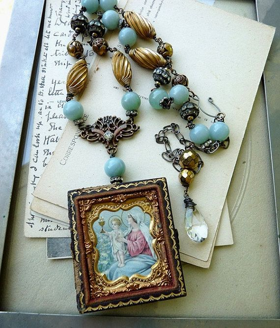 Antique Religious Assemblage Necklace Our by RusticGypsyCreations on ETSY