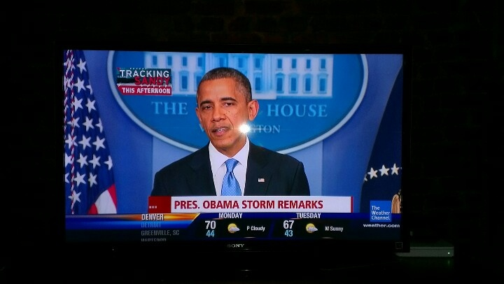Obama gives a statement on Hurrycane Sandy and I recorded this video in front of White House: