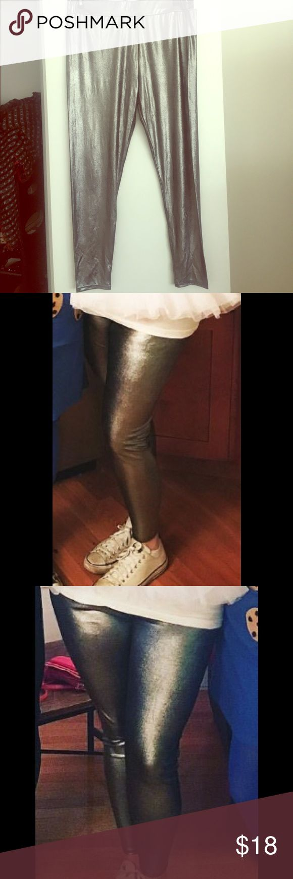 ASOS metallic leggings Wore these metallic silver leggings once for a Halloween costume. Love them but don't think I'll wear them again. ASOS size 18. ASOS Pants Leggings