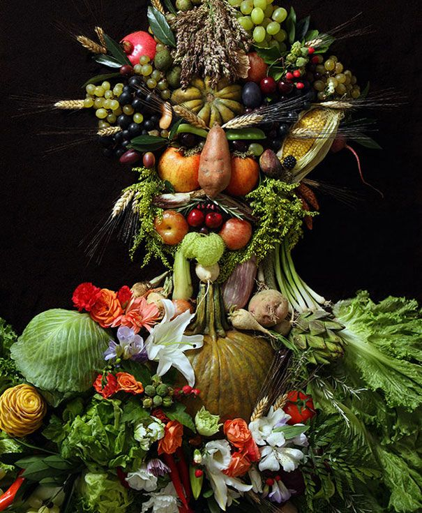 Photographer Recreates Portraits from 16th Century with Real Food | Bored Panda