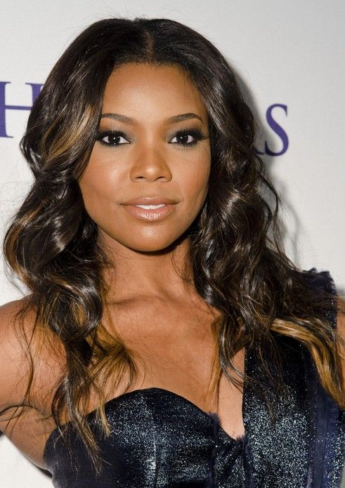 gabrielle union hair styles center part american wavy hairstyle 9557