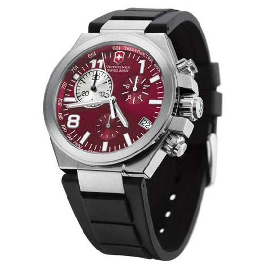 """Victorinox Swiss Army Convoy Chrono"" with a ""deep red analog dial.""  A little busy for me, but that deep red and the stainless steel cases + black rubber strap.  Cool."