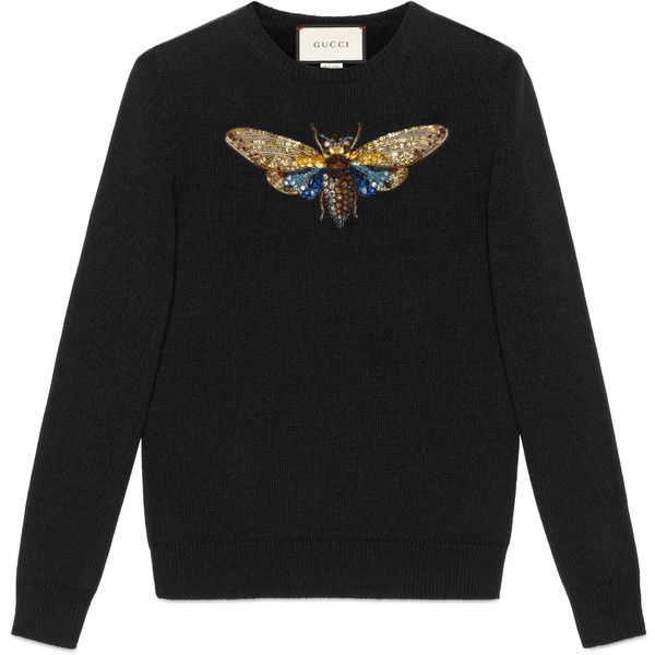 Gucci Embroidered Cashmere Knitted Top found on Polyvore featuring tops, black, crew top, sequin beaded top, butterfly top, gucci top and sequin top