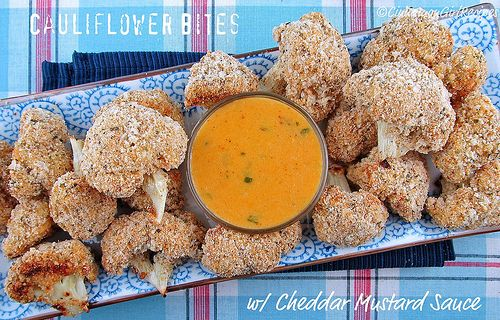 Cauliflower Bites with Cheddar Mustard Sauce