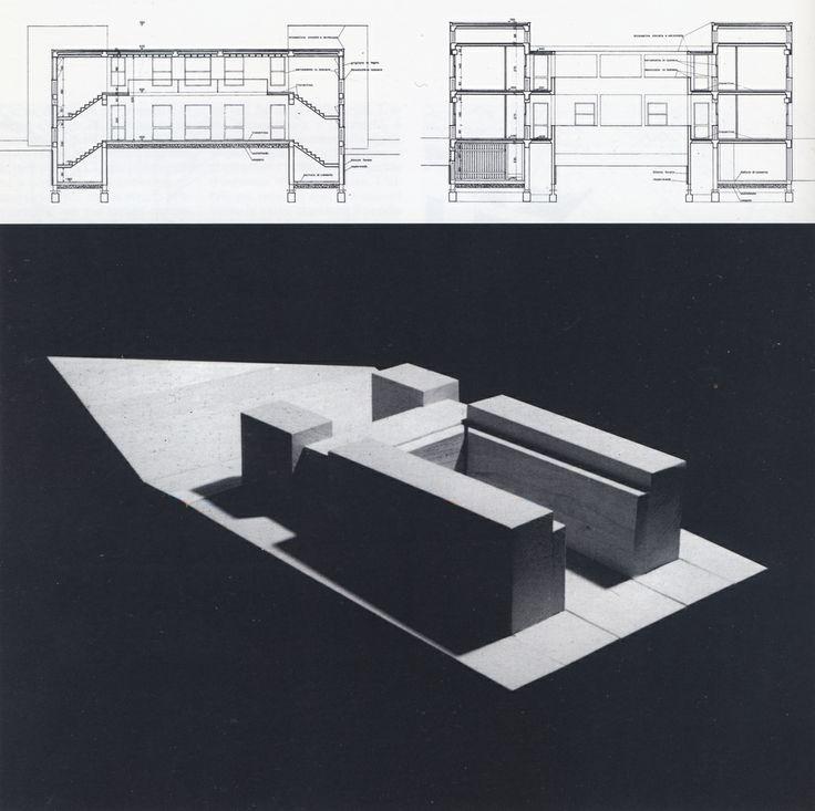 73-miglianico-chieti-maison-pour-quatre-freres-1978-coupe-transversale-et-vue-de-la-maquette-de-volumes.jpg (1137×1133)