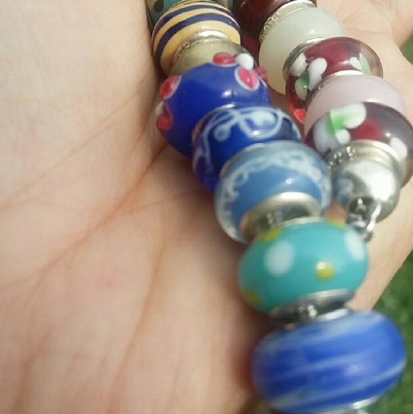 🏖️SUMMER SALE! Silver 925 Glass Lampwork Charms Price us for 1 charm! Gorgeous! High quality murano glass beads & genuine silver 925, stamped on every bead.  Fits Pandora,  Brighton,  Juicy,  Betsey Johnson and more brands charm bracelets!   I will upload more pictures of every charm available. More than 50 to choose from!   Price is firm. Jewelry Bracelets