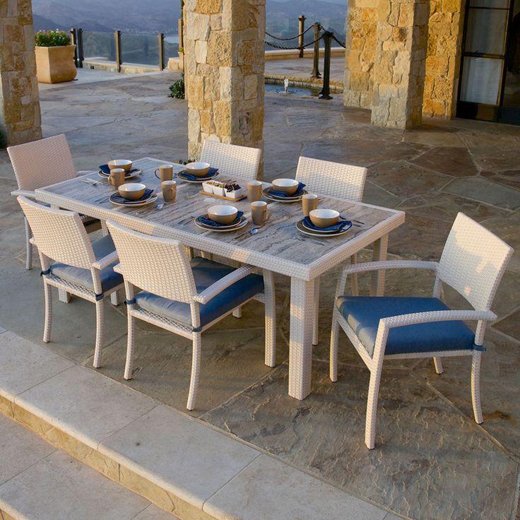 Portofino Comfort 7pc Dining Set - Newport Blue - Chalk| RST Brands