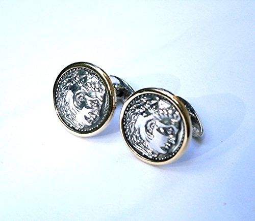 Cufflinks Hercules Gold - Silver     Pressed - Handmade     14K Gold - 925 Sterling Silver     2.5g 14Gold - 11g 925 Silver - Weight 13.5g     Thickness 20mm - Diameter 18mm