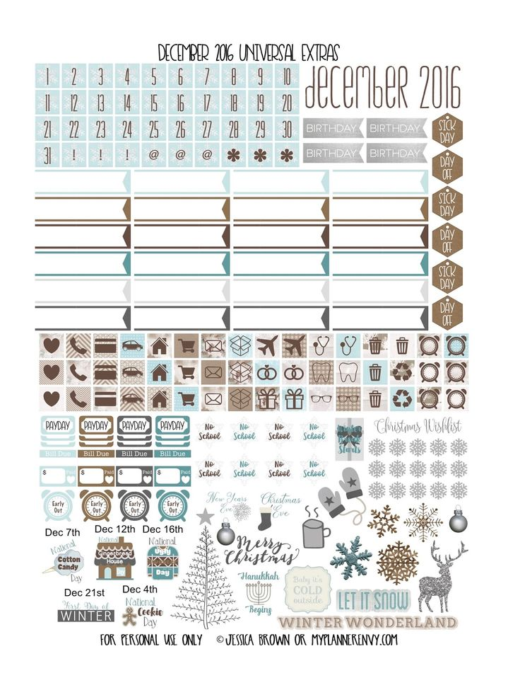 FREE December 2016 Monthly Cover Overlays & Universal Extras - Free Planner Printable BY myplannerenvy.com