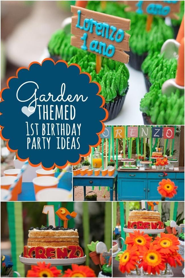 A Garden Themed Boy S First Birthday Party Garden Party Birthday Boys First Birthday Party Ideas First Birthday Parties