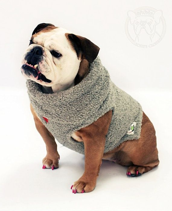 English Bulldog Plush Pullover Coat by ForRosie on Etsy