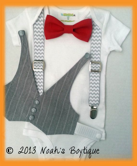 1st Birthday Outfit Boy - Boys First Birthday Outfit - Baby Boy Suspender Outfit - Grey Vest Red Bow Tie Chevron Suspenders on Etsy, $32.00