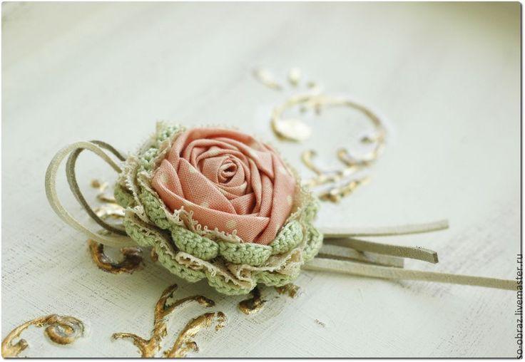 """Купить Текстильная брошь """"Чайная роза"""" - бледно-розовый, брошь, текстильная брошь, прованс"""