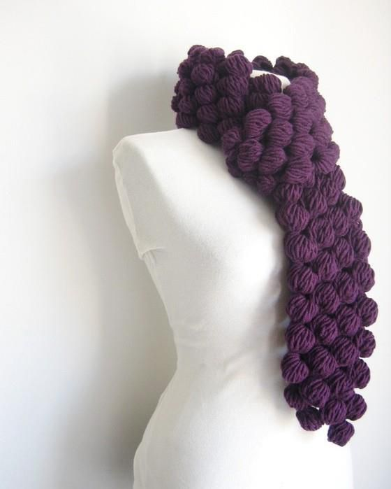 page full of scarves and charts.. love this oversized puff that reminds of grapes