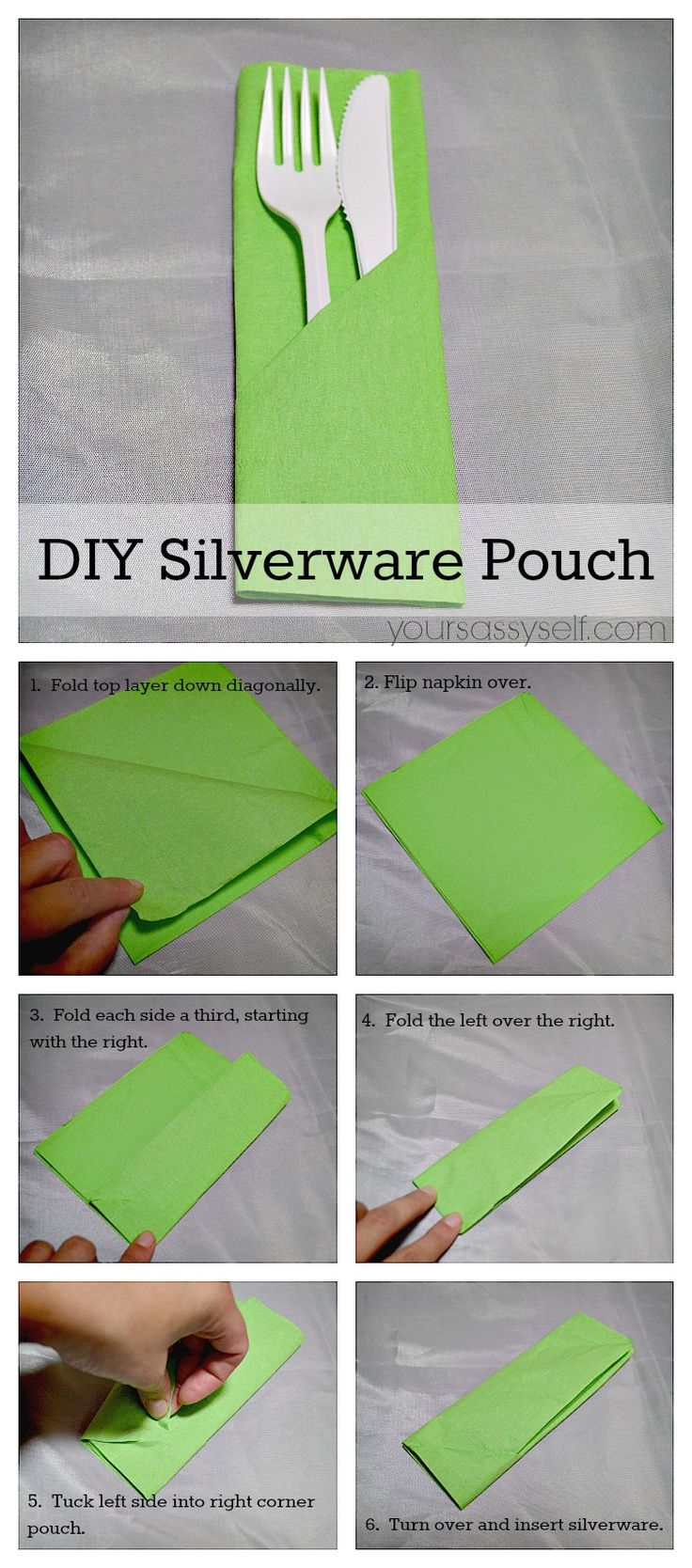 Napkin Fold - DIY Silverware Pouch - AD yoursassyself.com