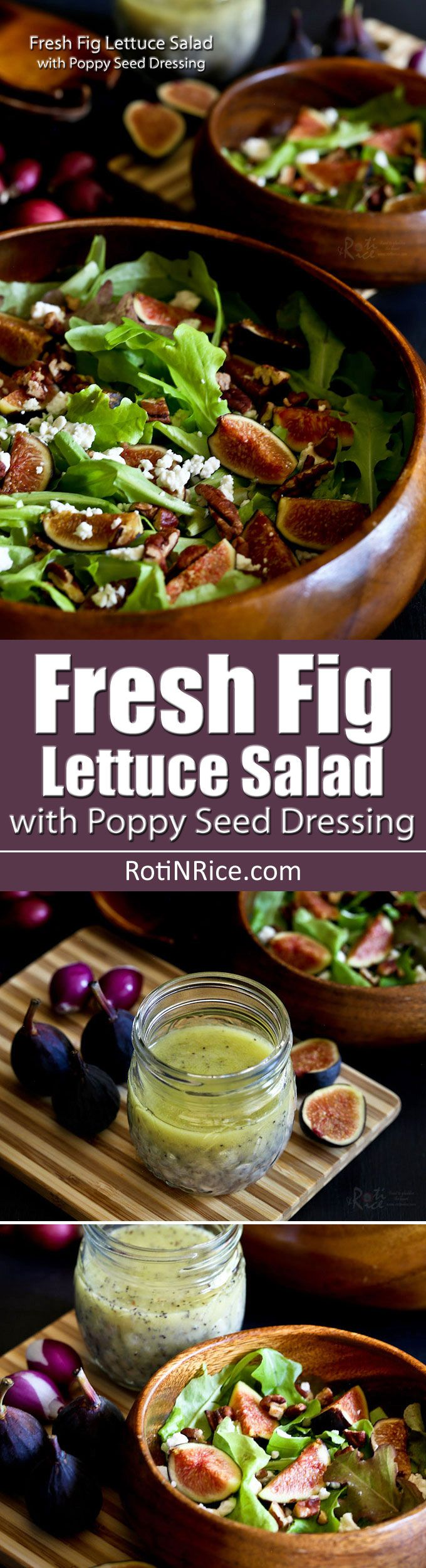A combo of sweet and tart flavors and a variety of textures make this Fresh Fig Lettuce Salad with Poppy Seed Dressing a must-try when figs are in season.   RotiNRice.com